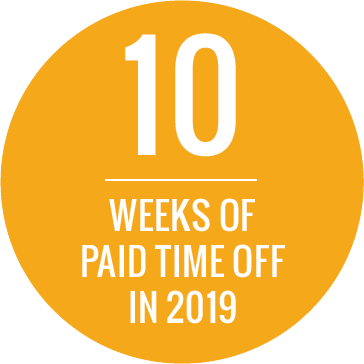 10 weeks of paid time off in 2019